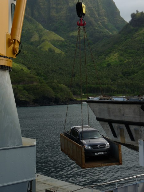Aranui 3 freight loading Tahuata VaitahuMarquesas Islands Polynesia